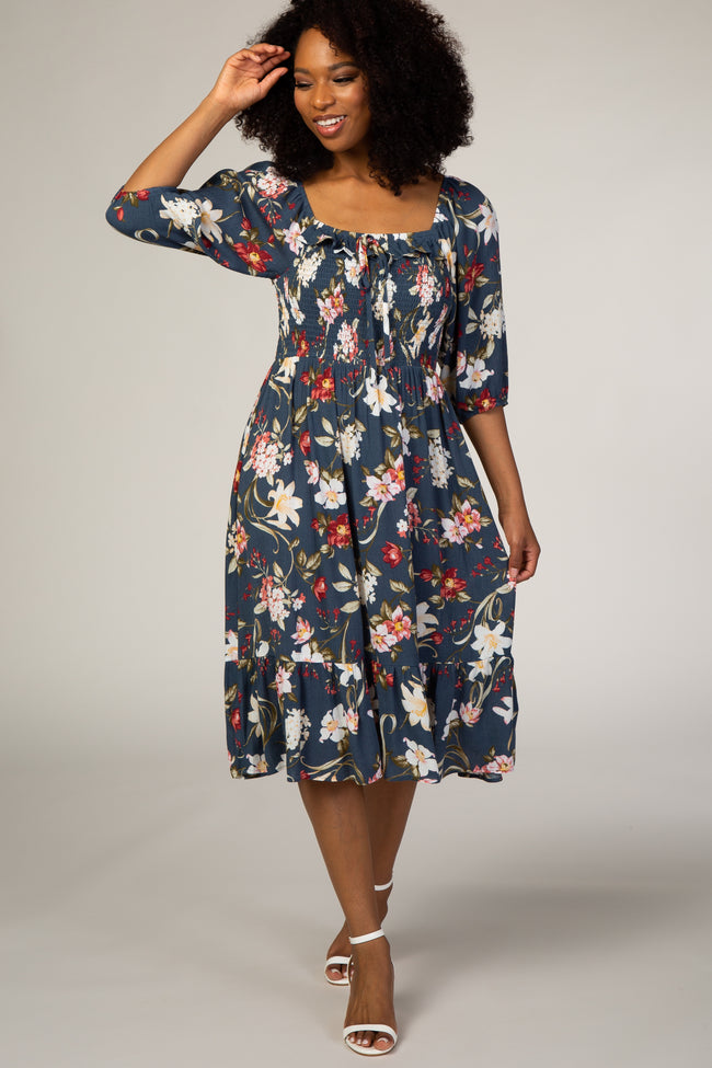 Blue Floral Smocked Square Neck 3/4 Sleeve Maternity Dress