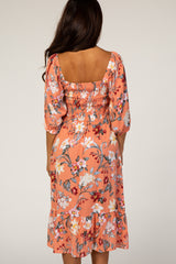 Peach Floral Smocked Square Neck 3/4 Sleeve Dress