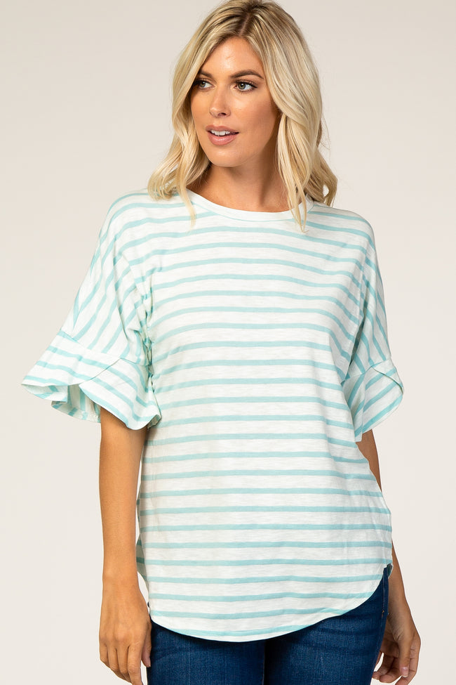 Mint Green Striped Short Flutter Sleeve Top