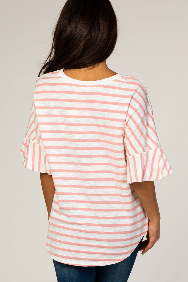 Peach Striped Short Flutter Sleeve Top