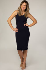 Navy Blue Fitted Scoop Neck Maternity Tank Top Dress