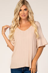 Taupe Ribbed Ruffle Sleeve Top