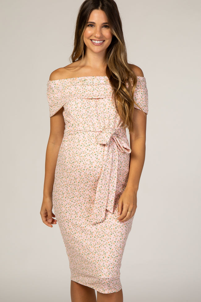 PinkBlush Light Pink Floral Fitted Off Shoulder Maternity Dress
