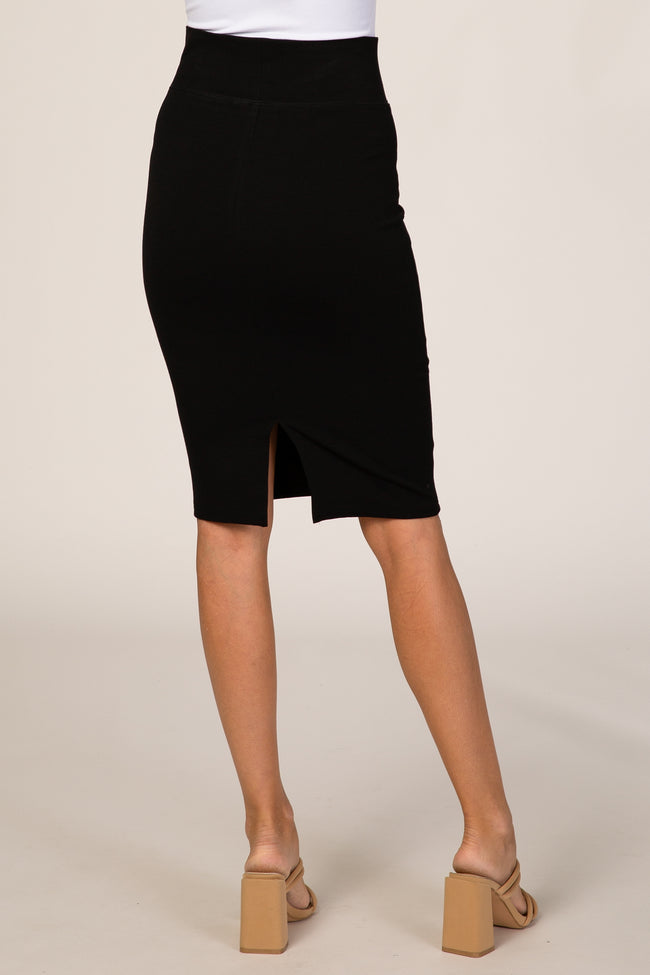 Black Fitted High Waist Skirt