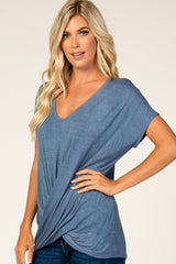 Navy Draped Hem V-Neck Short Sleeve Top
