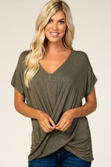 Olive Draped Hem V-Neck Short Sleeve Top