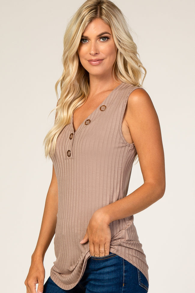 Taupe Button Neckline Ribbed Tank