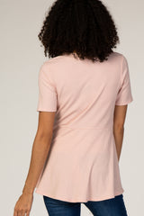 PinkBlush Pink Ribbed Button Accent Maternity Blouse