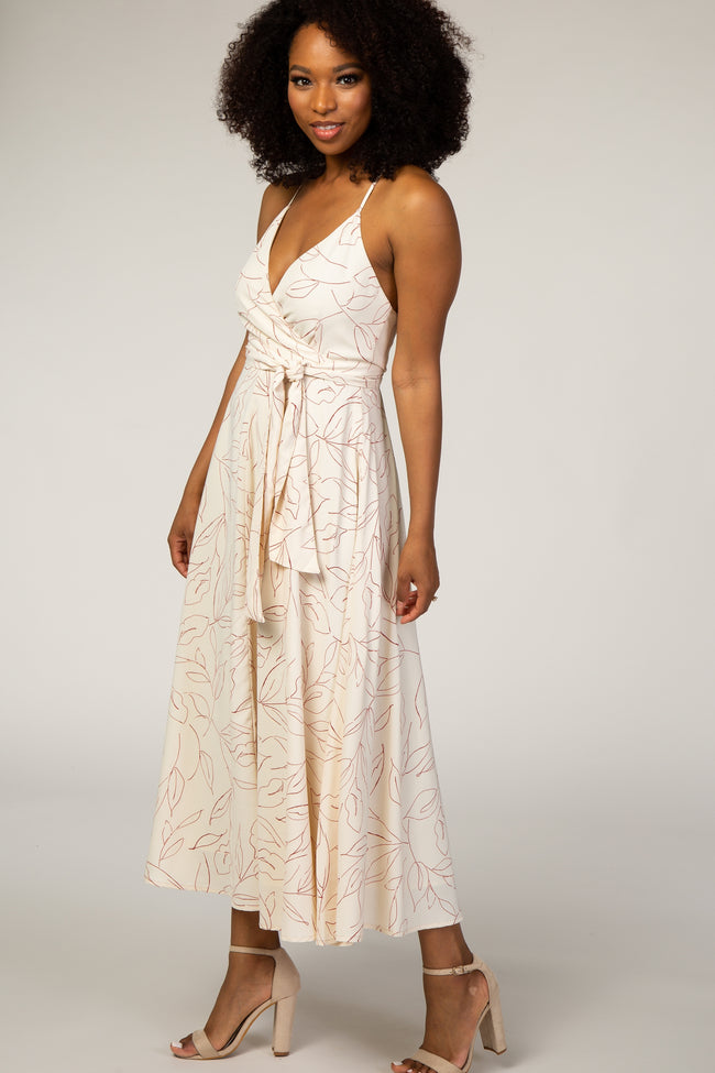 Ivory Abstract Floral Draped Dress