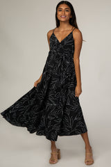 Black Abstract Floral Draped Maternity Dress