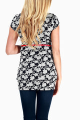 Black White Floral Print Belted Maternity Top