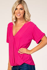 Fuchsia Textured Draped Top
