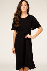 Black Ruffle Detail Dress