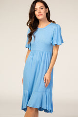 Blue Ruffle Detail Dress