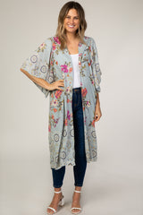 Light Blue Floral Printed Maternity Cover Up