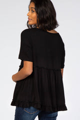 Black Lettuce Trim Maternity Top