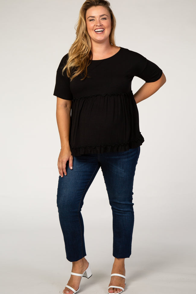 Black Tiered Plus Maternity Top