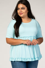 Light Blue Tiered Plus Top