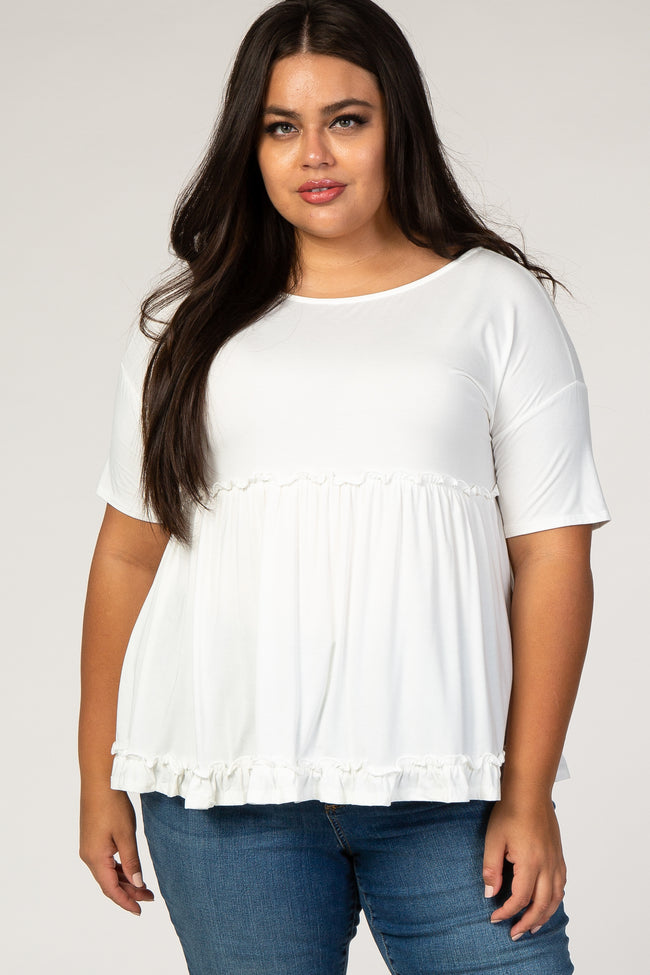 White Tiered Plus Maternity Top