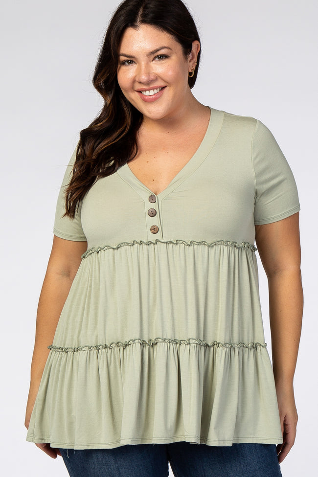 Sage Tiered Button Accent Plus Maternity Blouse