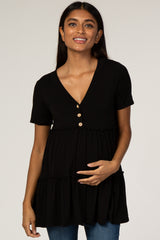 Black Tiered Button Accent Maternity Blouse