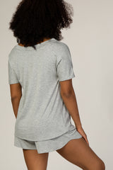 Heather Grey Off Shoulder Sleep Set