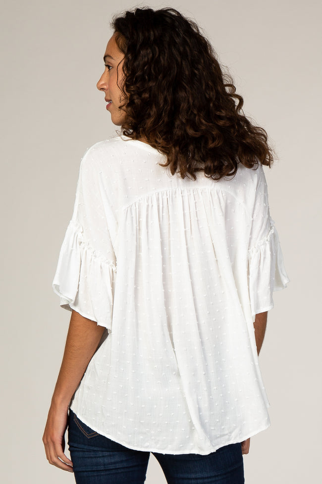 Ivory Textured Button Ruffle Accent Blouse