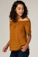 Mocha Off Shoulder Pom Pom Hem Top