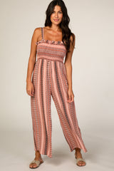 Pink Printed Smocked Jumpsuit