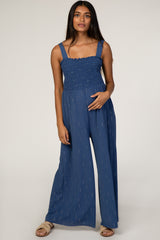 Navy Shimmer Accent Maternity Jumpsuit