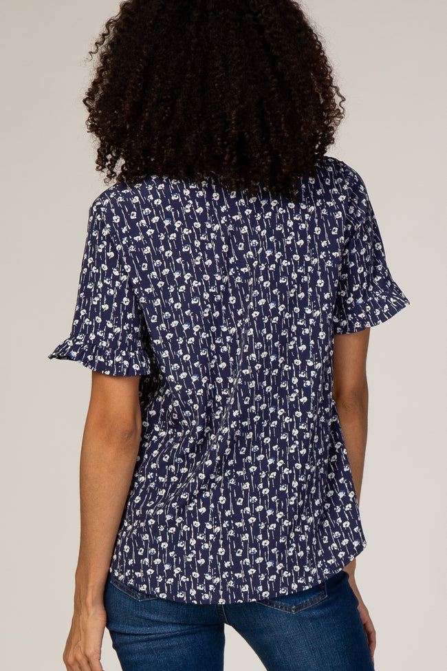 Navy Mini Floral Print Ruffle Sleeve Button Up Maternity Blouse