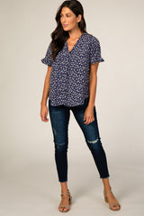 Navy Mini Floral Print Ruffle Sleeve Button Up Blouse