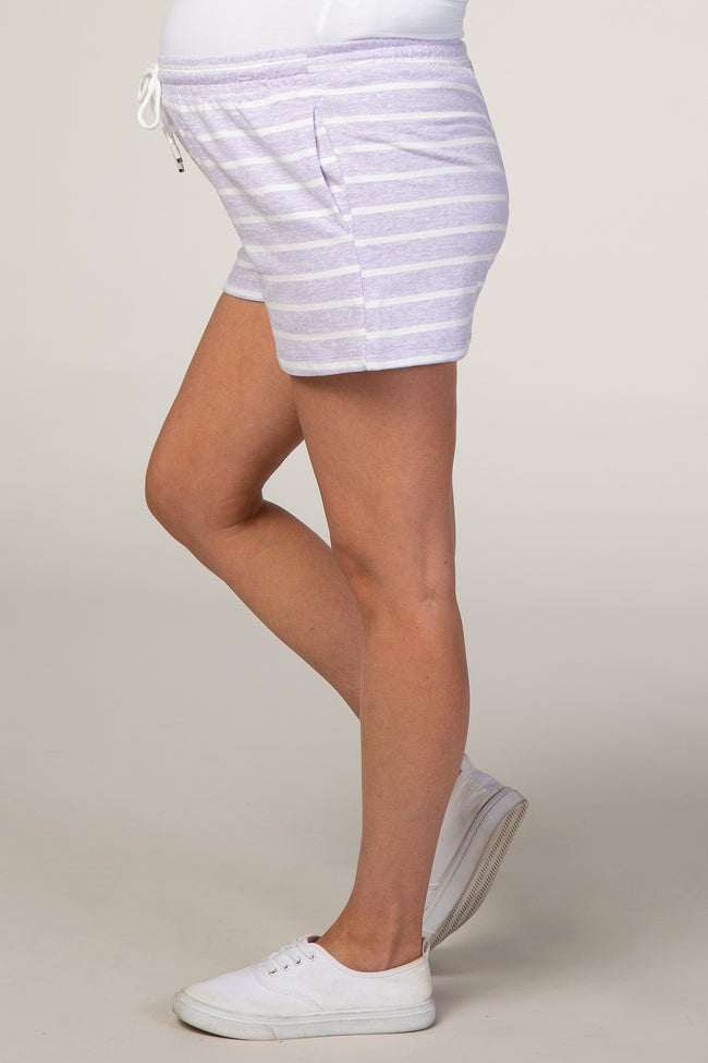 Lavender Striped Maternity Shorts