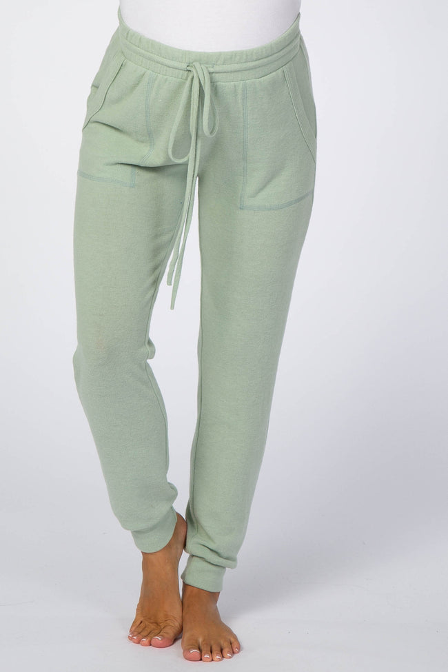 Mint Green Soft Brushed Drawstring Maternity Lounge Pants