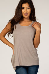 Mocha Ribbed Tank Top