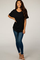 Black Cuffed Sleeve Basic Tee
