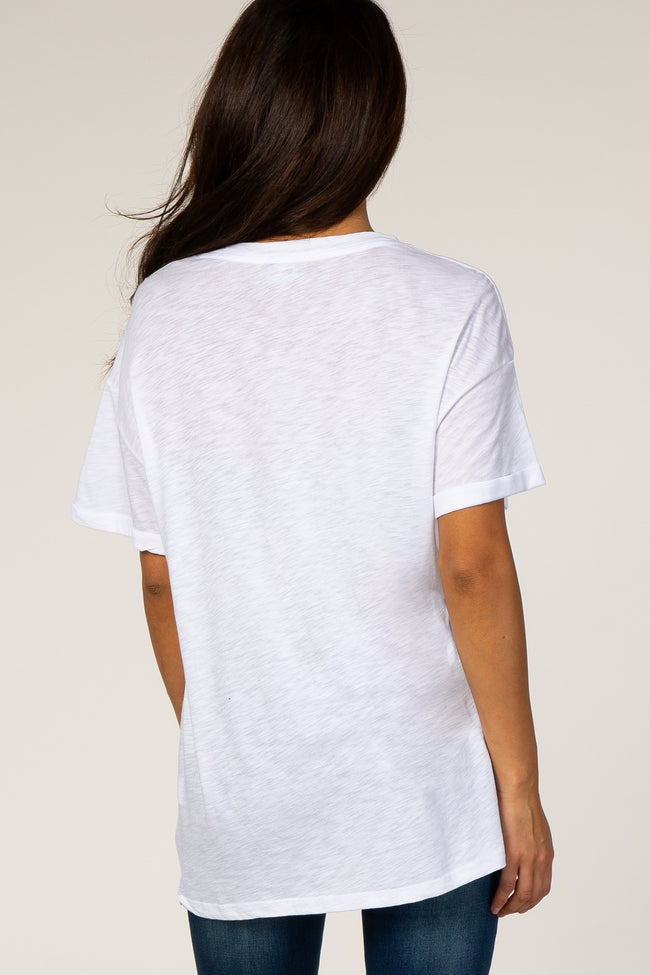 White Cuffed Sleeve Basic Tee