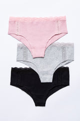 Multi-Color Lace Accent Ribbed Underwear Set