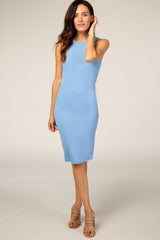 Waverleigh Blue Super Soft Fitted Maternity Dress
