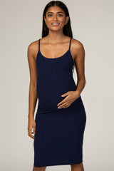 Waverleigh Navy Ribbed Fitted Maternity Dress