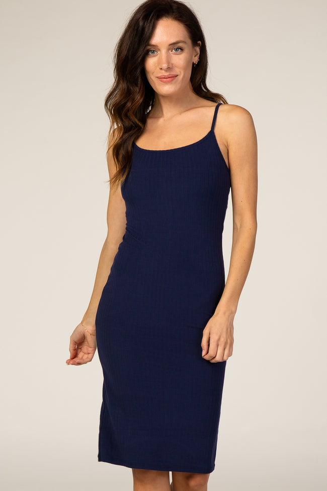 Waverleigh Navy Ribbed Fitted Dress