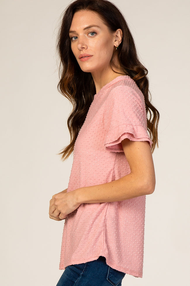 Pink Swiss Dot Textured Blouse