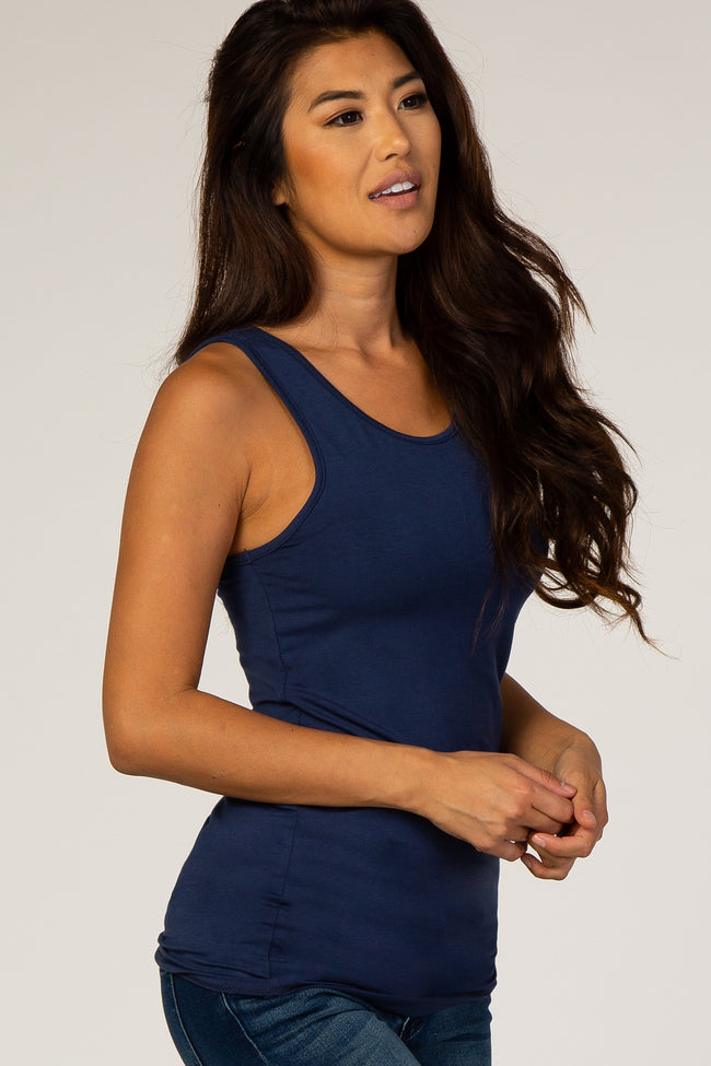 Navy Fitted Cutout Tank Top