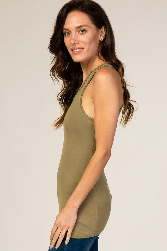 Olive Fitted Cutout Tank Top