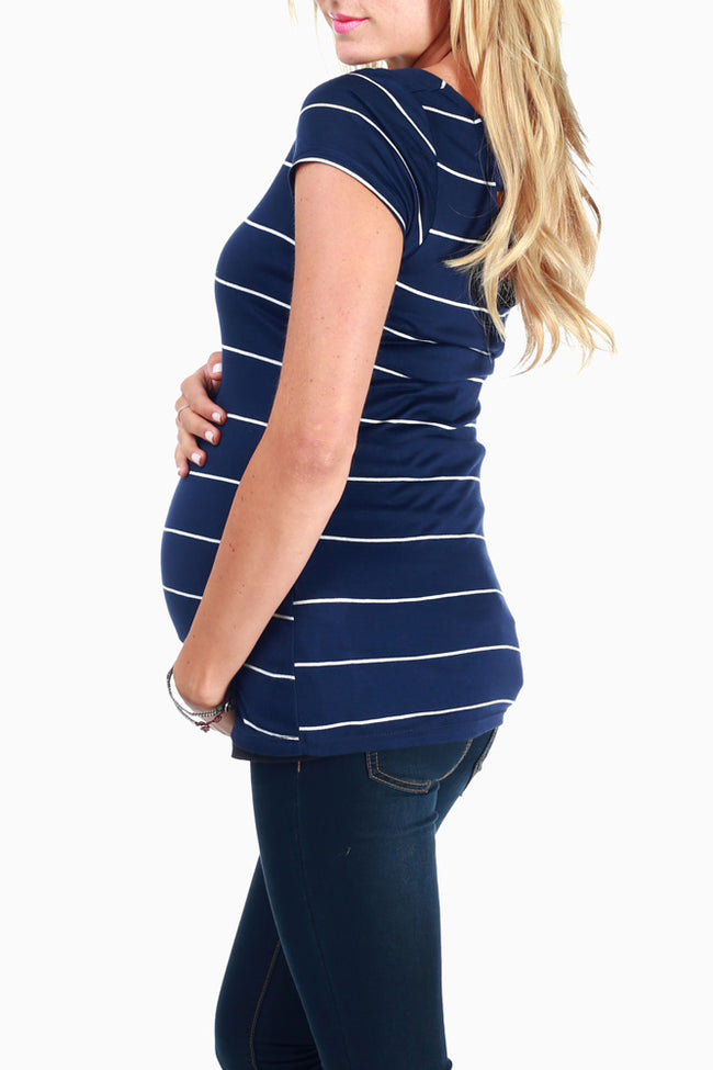 Navy White Striped Open Back Maternity Top