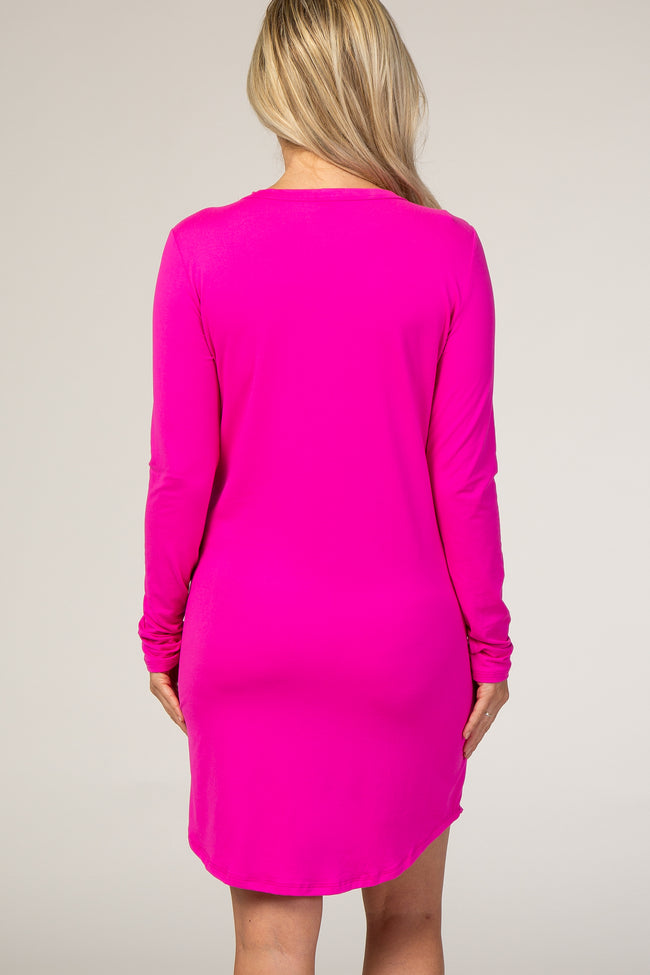 Fuchsia Button Down Maternity Sleep Dress