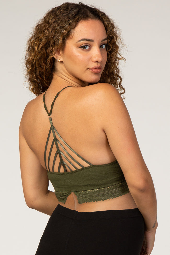 Olive Ribbed High Neck Crochet Trim Maternity Bralette