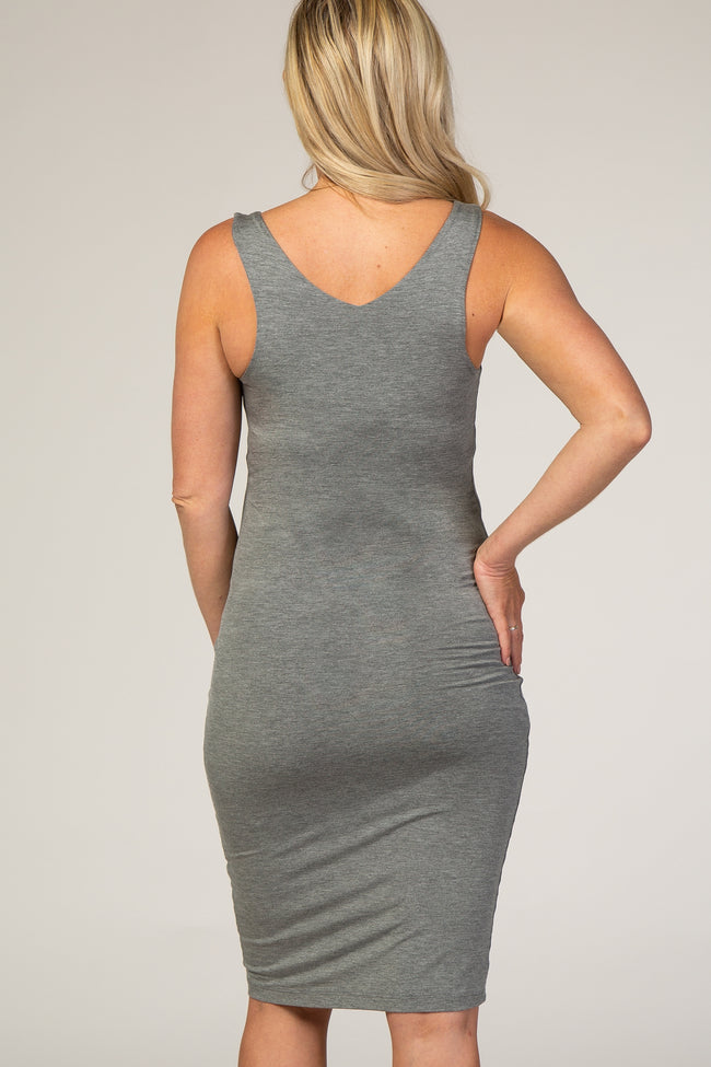 Charcoal  Fitted V-neckline Maternity Midi Dress