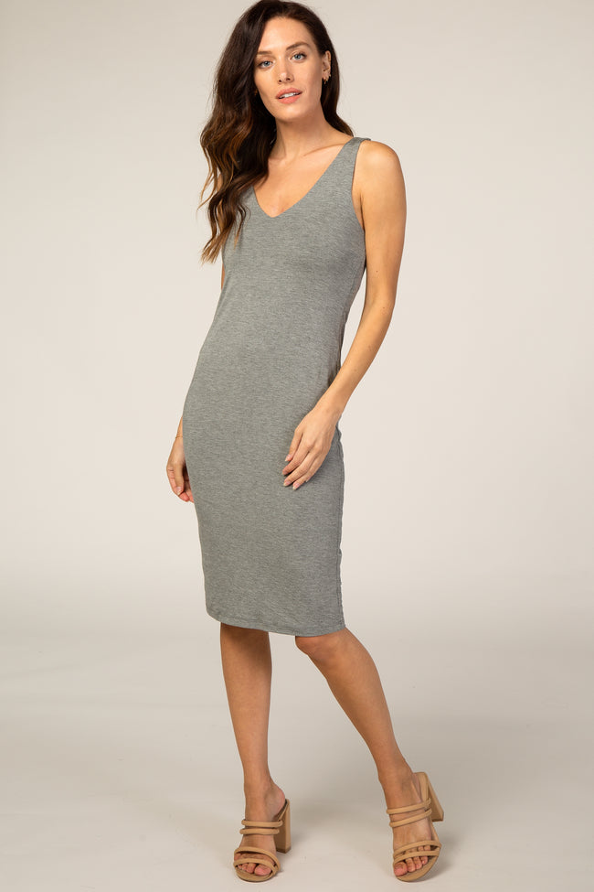 Charcoal  Fitted V-neckline Midi Dress