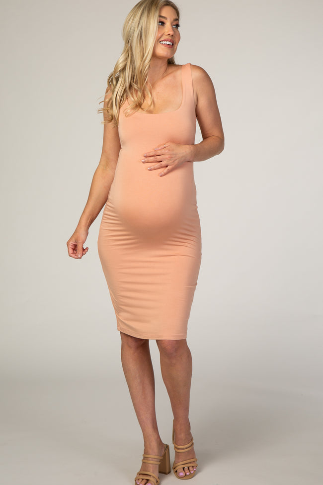 Peach Square Neckline Fitted Maternity Dress